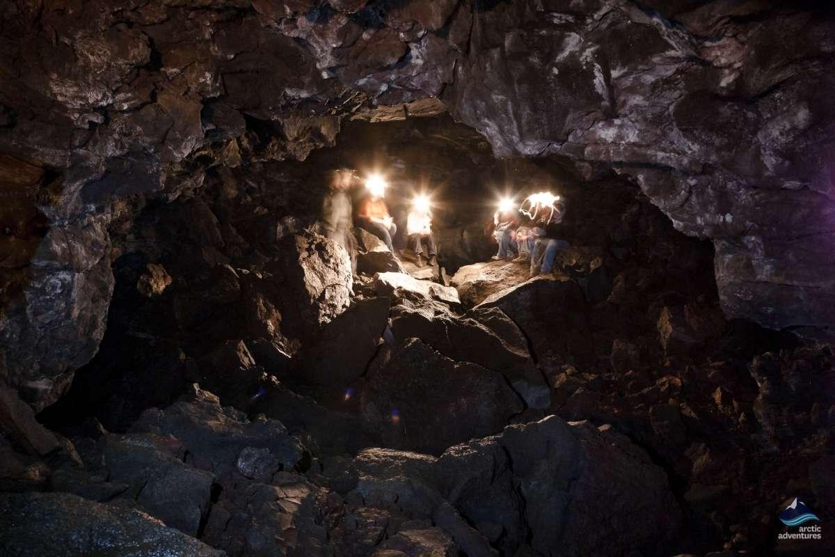 Caving Lava tube Iceland