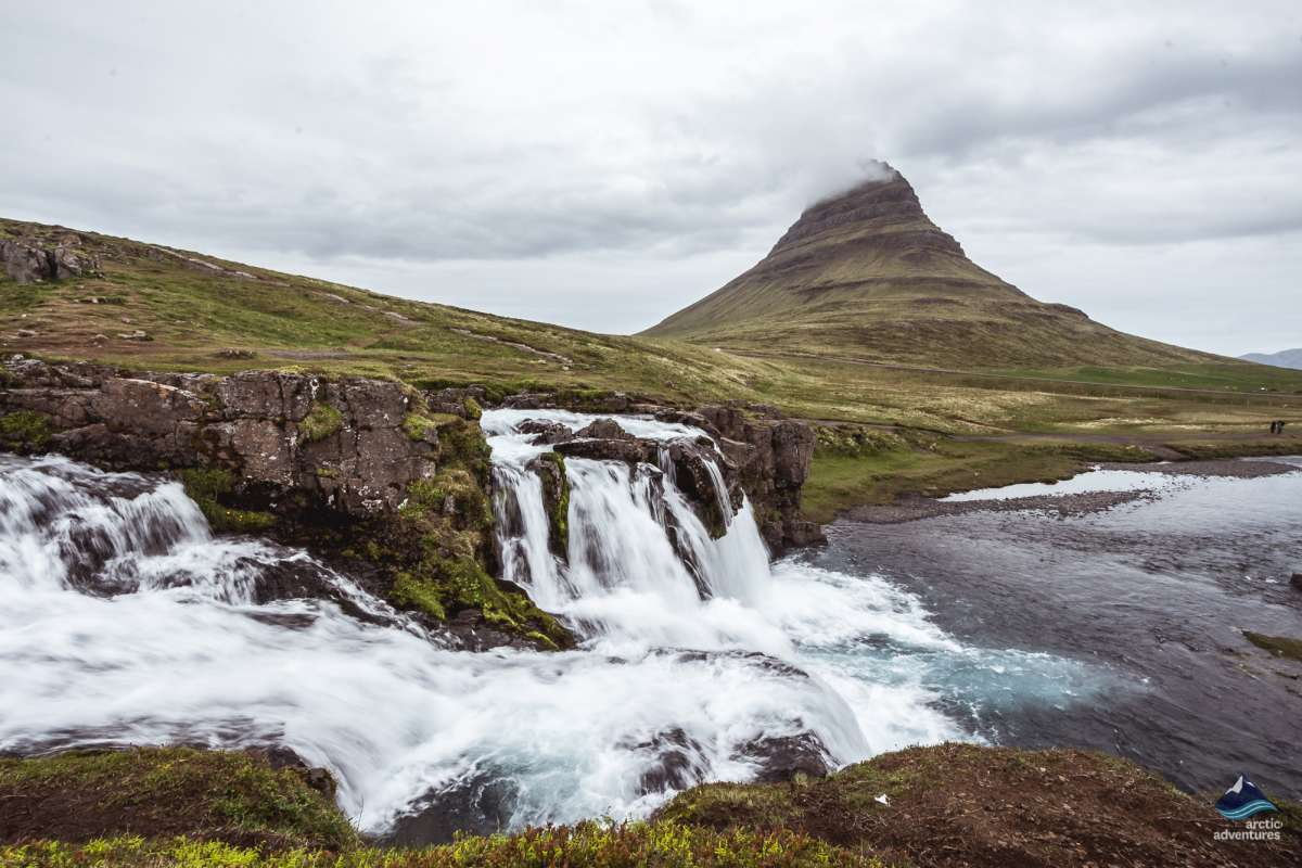 View over Mt. Kirkjufell and waterfalls