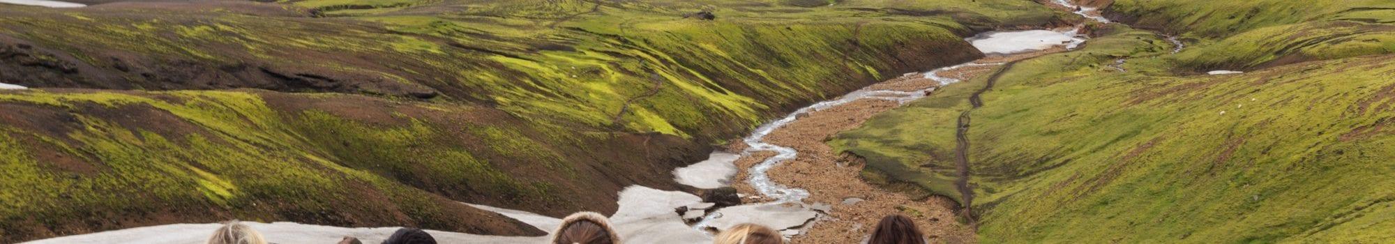 Thorsmork with arctic adventures in iceland people enjoyin the view in Landmannalaugar