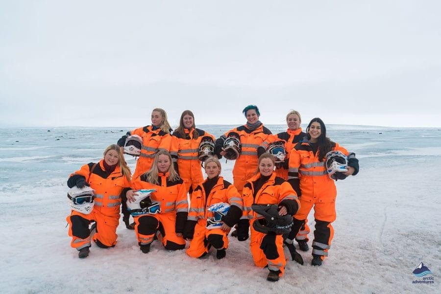 Girl power on langjokull glacier