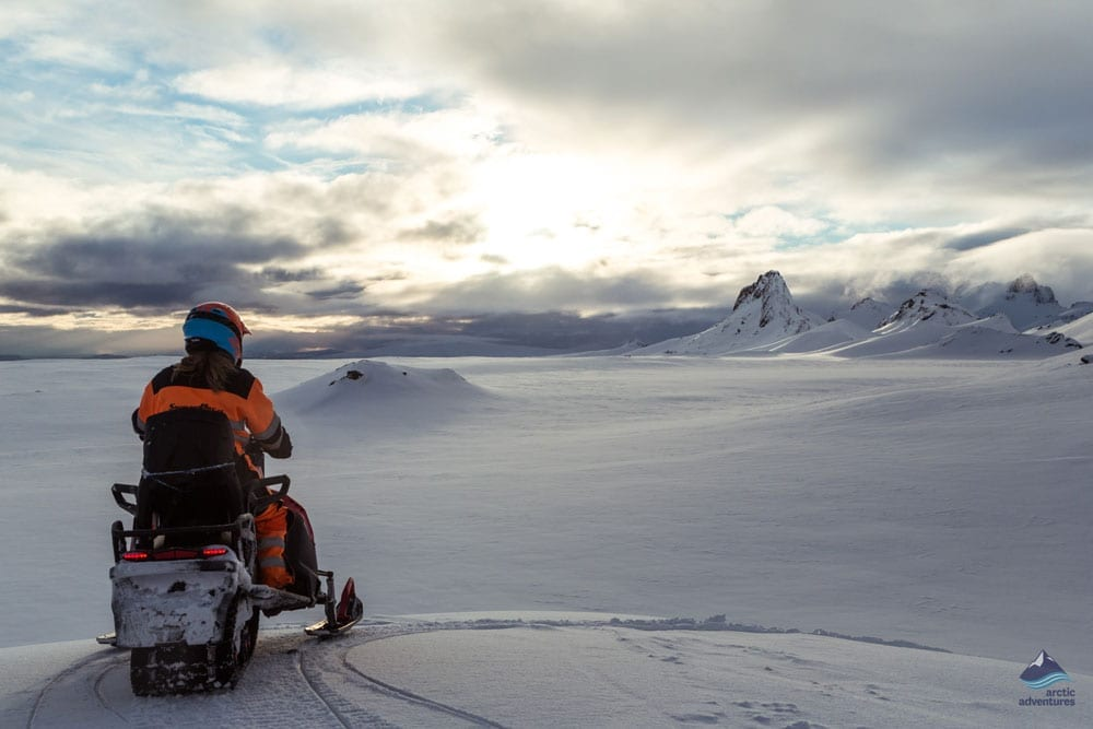 Snowmobiling tour in Langjokull glacier in Iceland