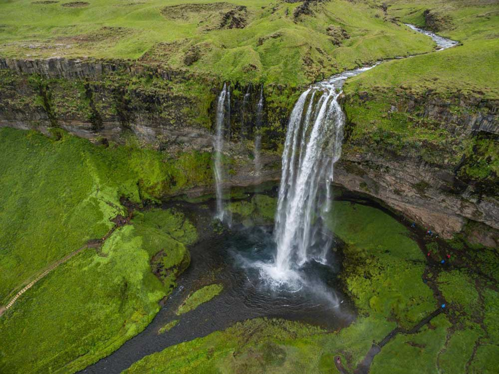 Bird view over Seljalandsfoss Iceland