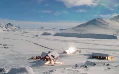 Nothern lights over snowy highlands, Iceland