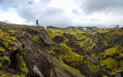 Man on a mountain in thorsmork iceland