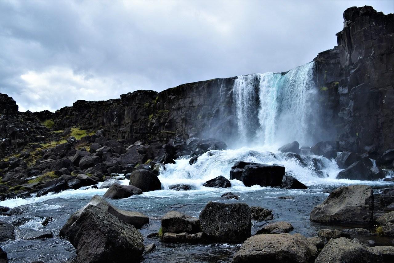 Oxararfoss waterfall, thingvellir Iceland