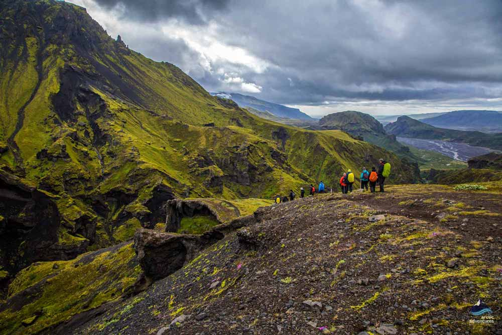 Group hiking thorsmork volcano trail