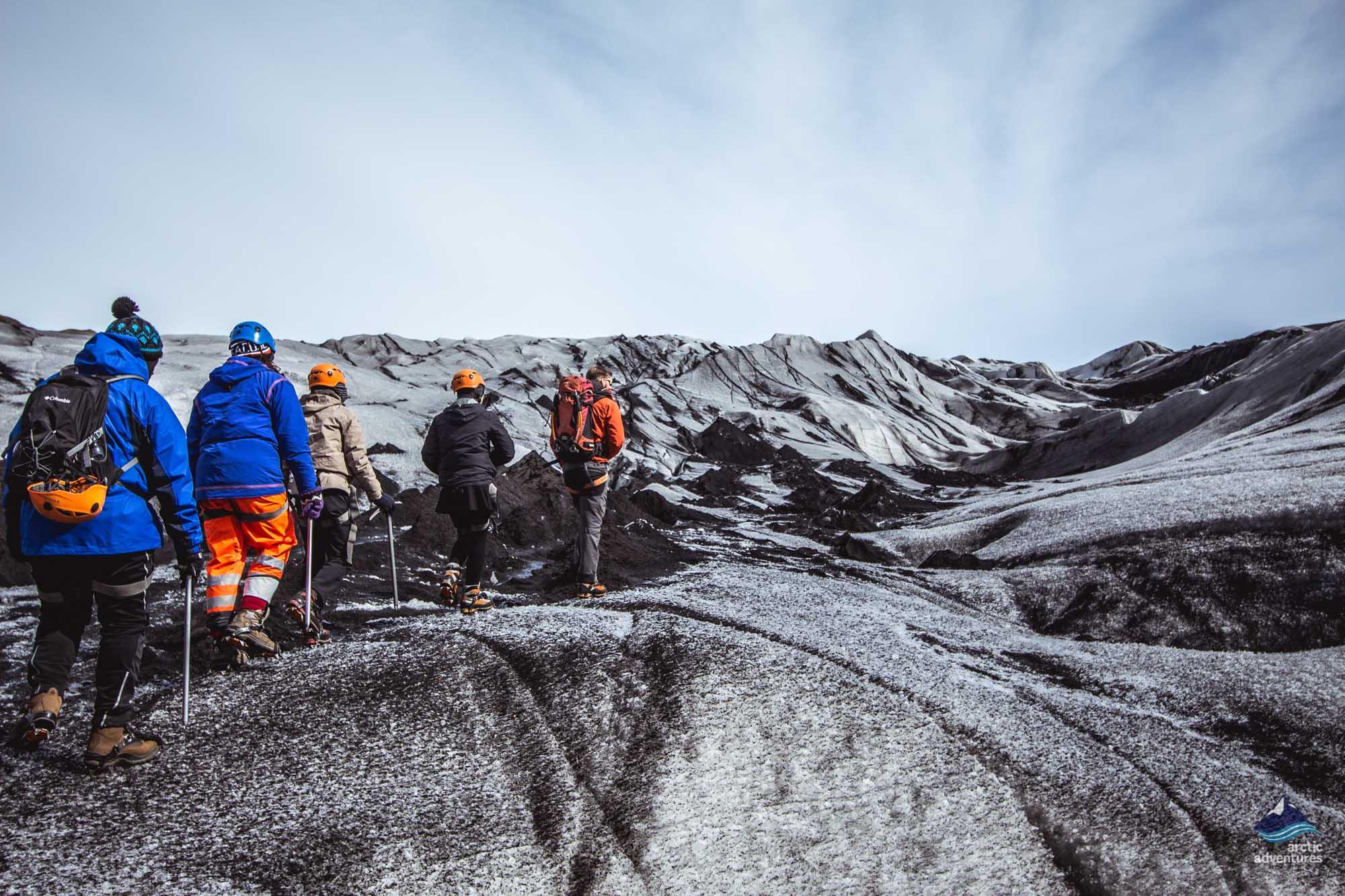 Glacier hiking on Solheimajokull Iceland