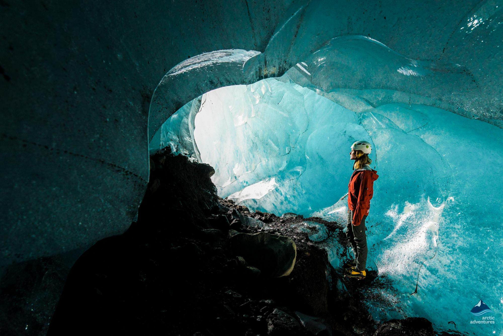 Inside Ice Cave Vatnajokull glacier Iceland