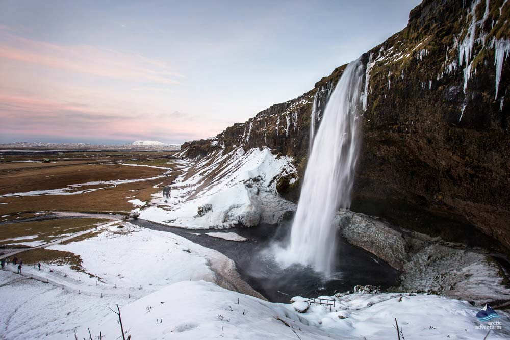Seljalandsfoss waterfall in winter time