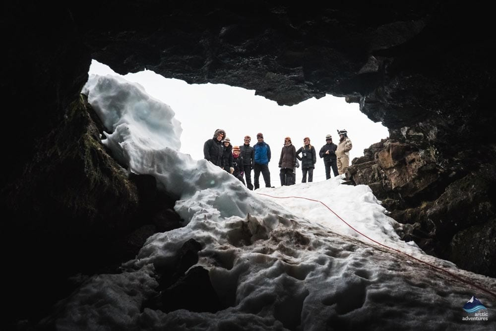 At the open of the lava cave Iceland