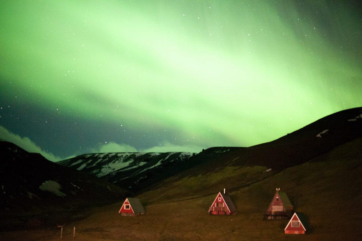 Northern lights over Kerlingarfjoll