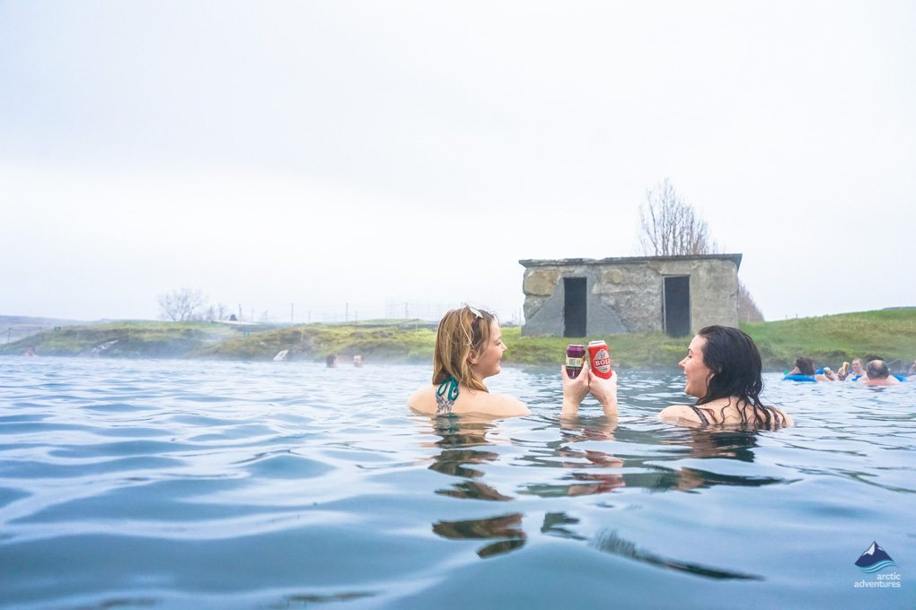 Friends at the Secret Lagoon in Iceland