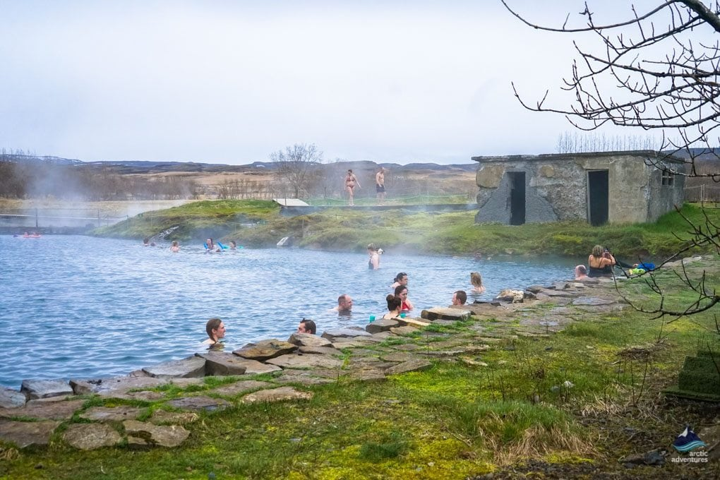 bathing in the secret lagoon Iceland