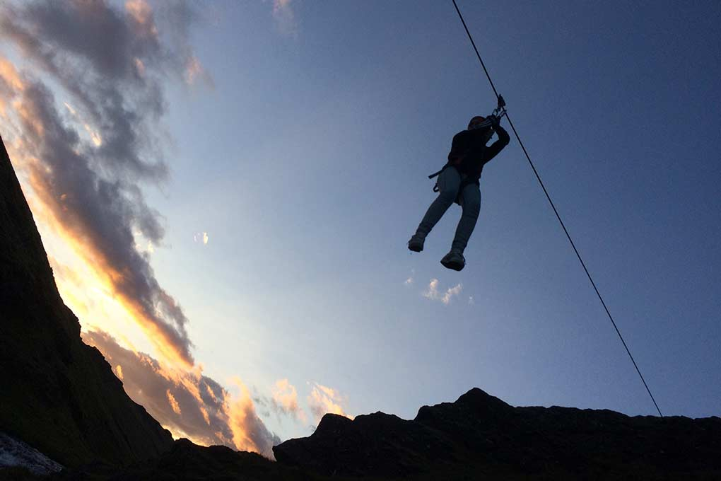 Zipline in the Midnight Sun in Iceland