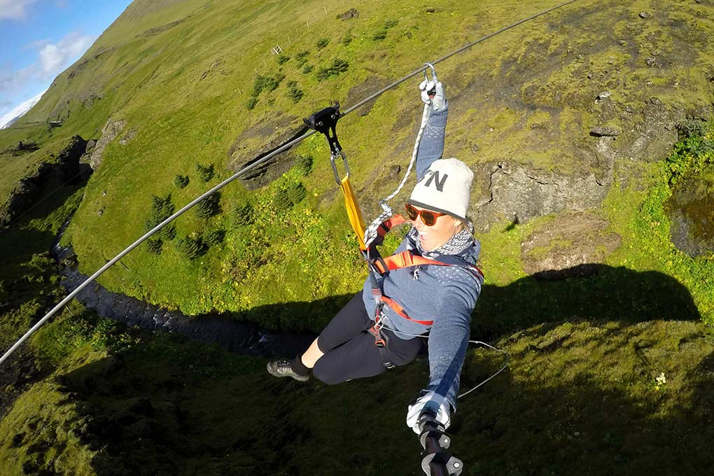 Zipline in Icelandic nature