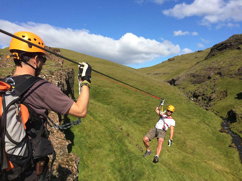 Zipline adventure South Iceland