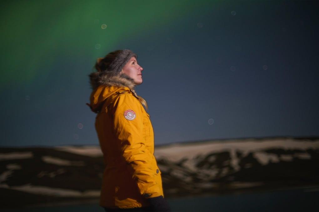 admiring the auroras in iceland