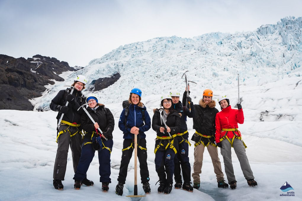 A happy group on a glacier tour in Iceland