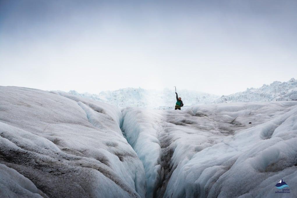 Hiker on Falljokull Glacier