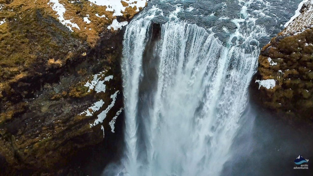 Skogafoss Waterfall from Drone view