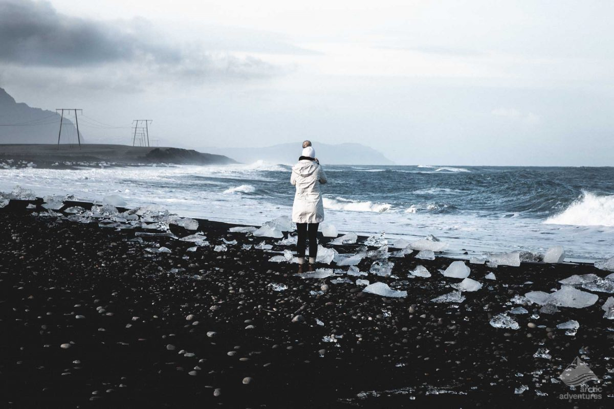 Girl at the Diamond Beach in Iceland