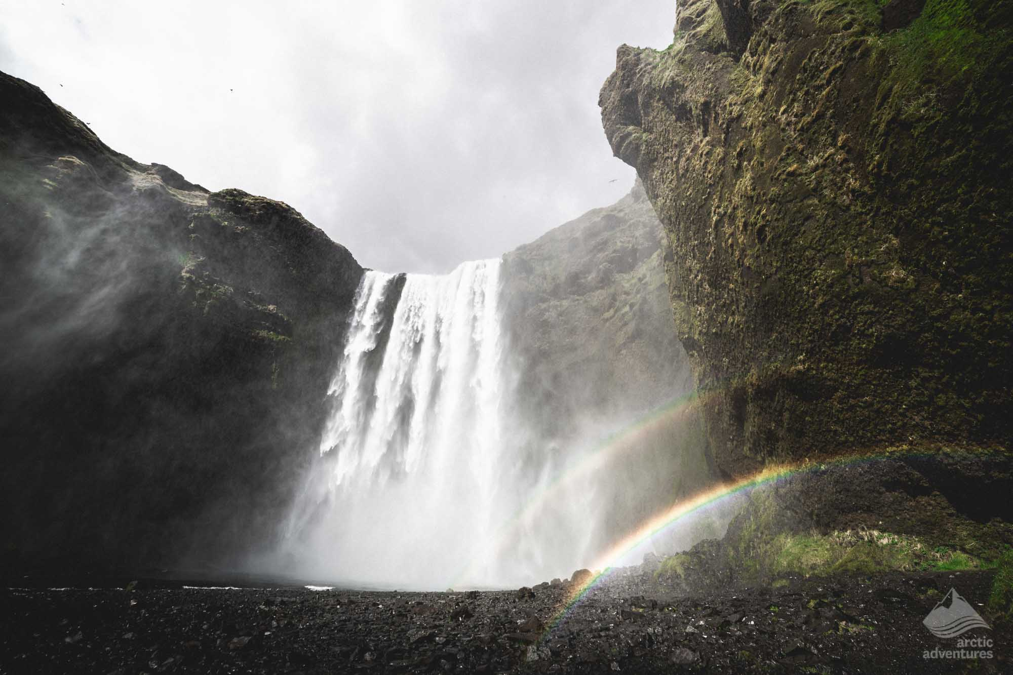 Double rainbow at Skogafoss Waterfall