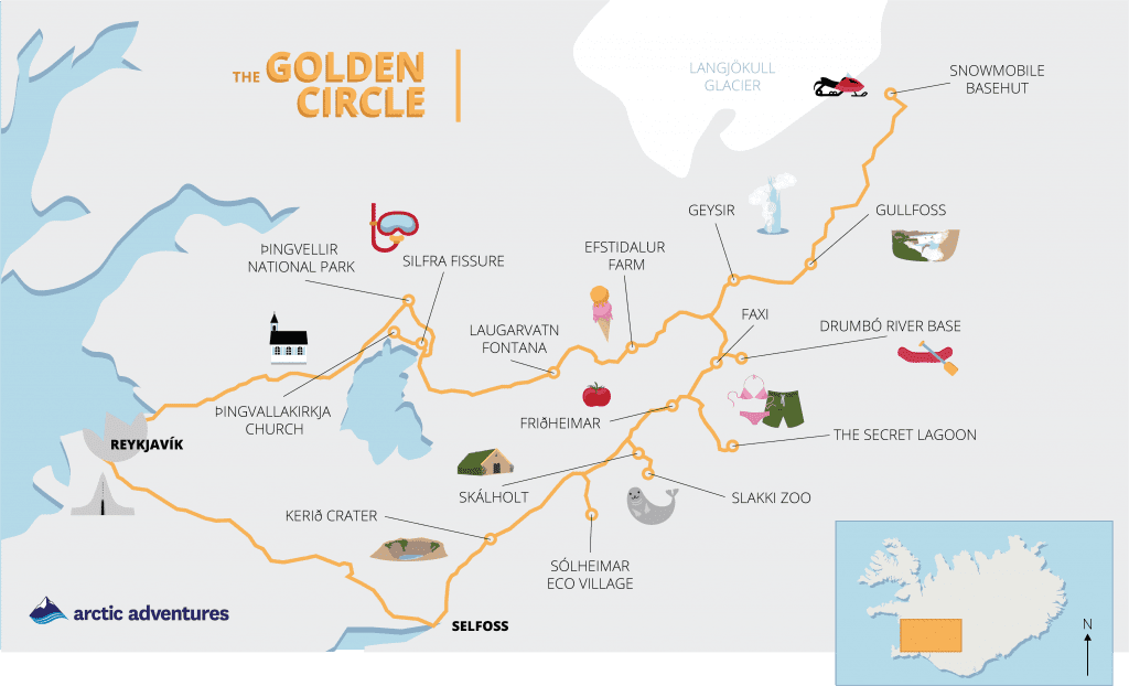 activity map of the golden circle showing activities on a tour with arctic adventures