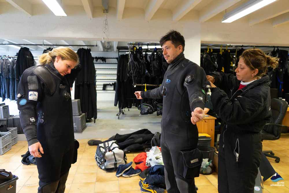 trying dry suits on