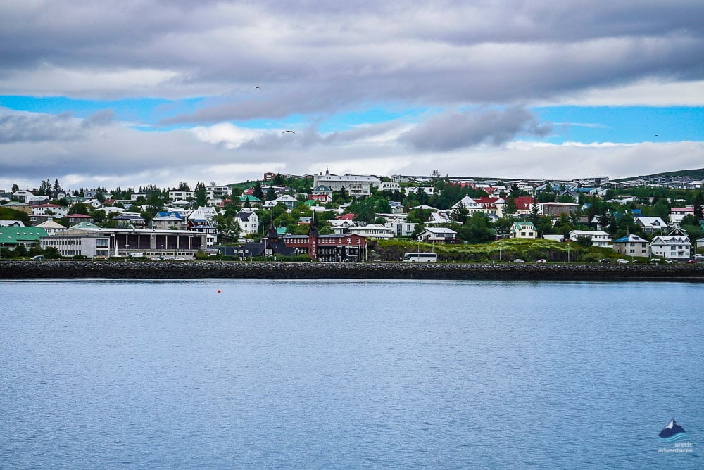 Hafnarfjordur town seen from the harbor
