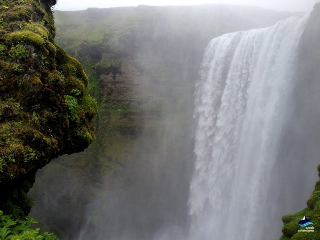 Skogafoss Waterfall and Troll Face