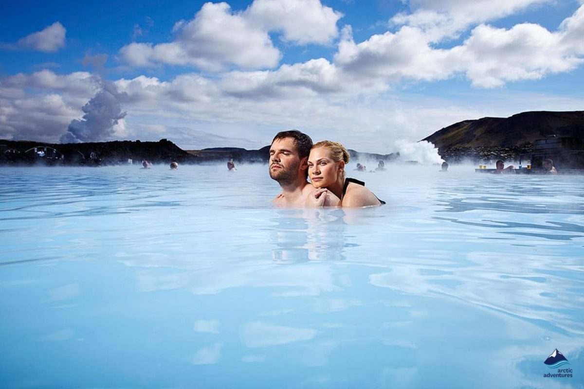 Couple Enjoying the Blue Lagoon in Iceland