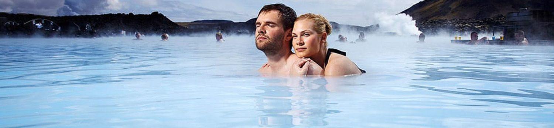 Couple Enjoying the Blue Lagoon in Iceland
