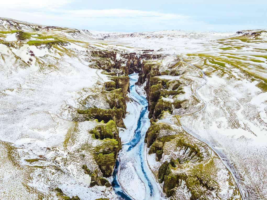 Fjafrargljufur Canyon in winter