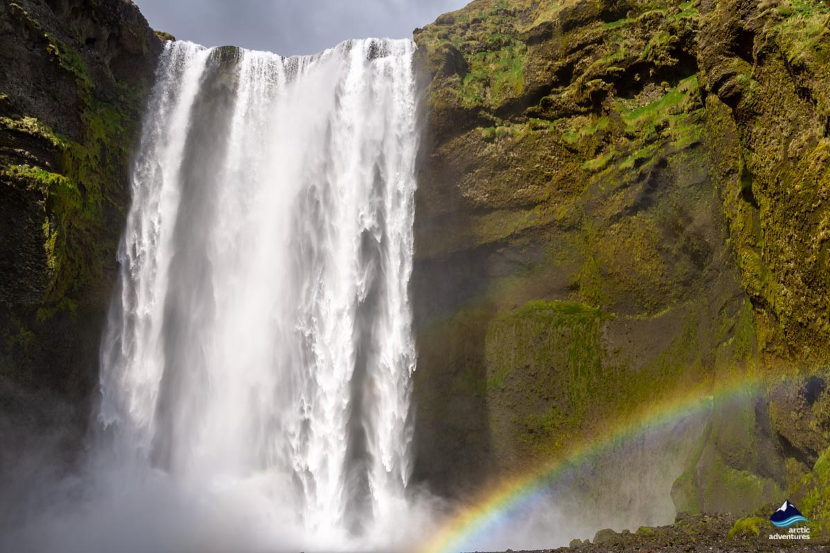 Rainbow at Summer at Skógafoss Waterfall