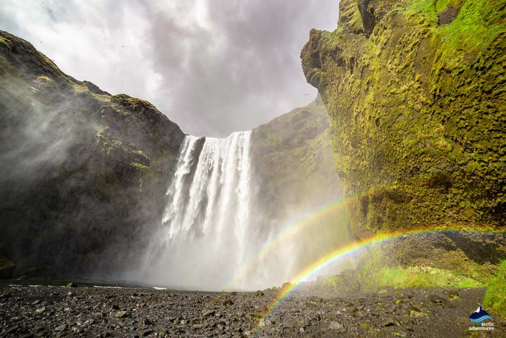 Two rainbows at Skógafoss Waterfall