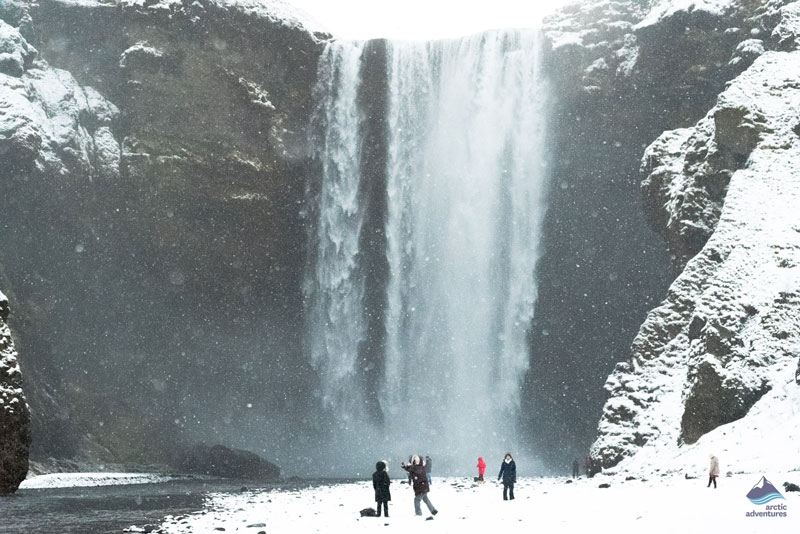 Winter at Skogafoss in Iceland