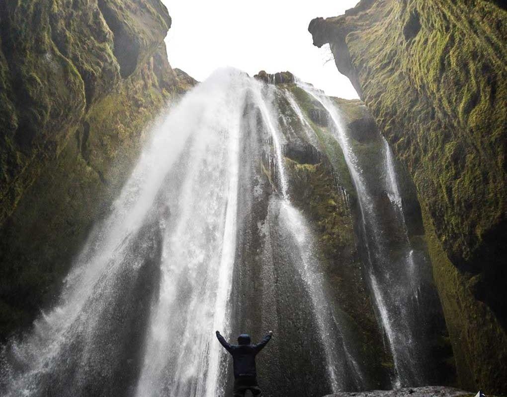 standing inside Gljufrabui Gorge
