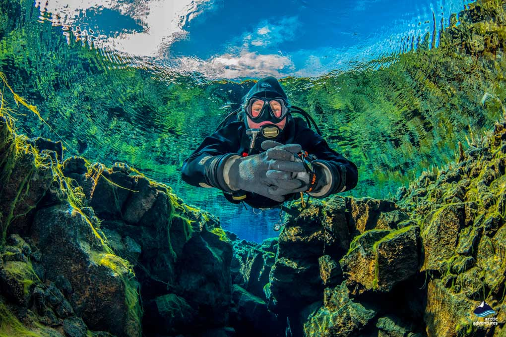 Diving at Silfra fissure, Iceland