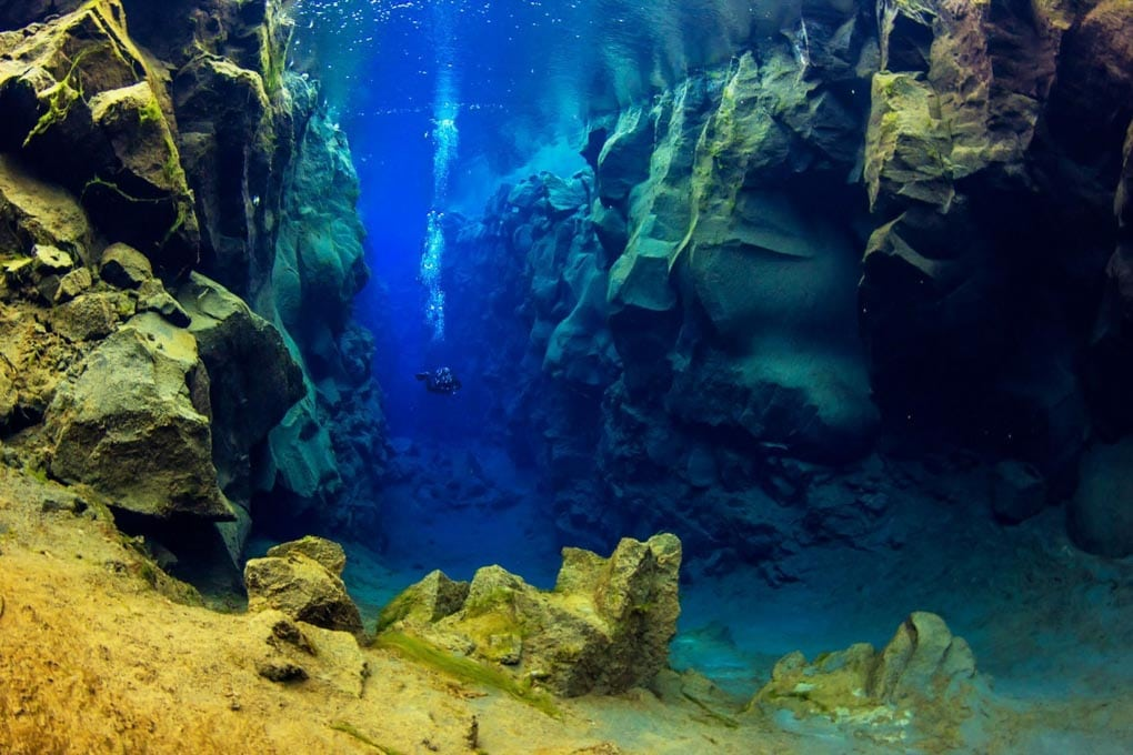 Diving in Silfra Fissure, Iceland