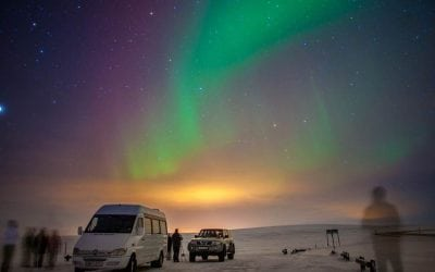 Northern lights in the sky in Akureyri, Iceland