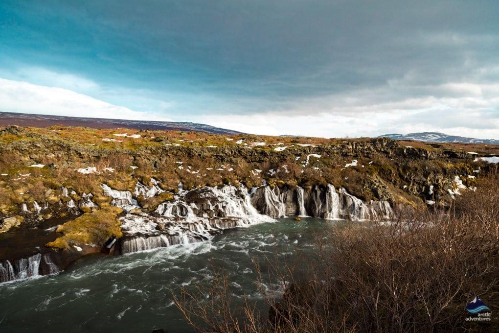 Hraunfossar Waterfall in colder weather