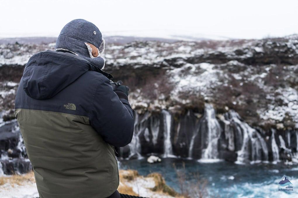 Winter Hraunfossar Waterfall