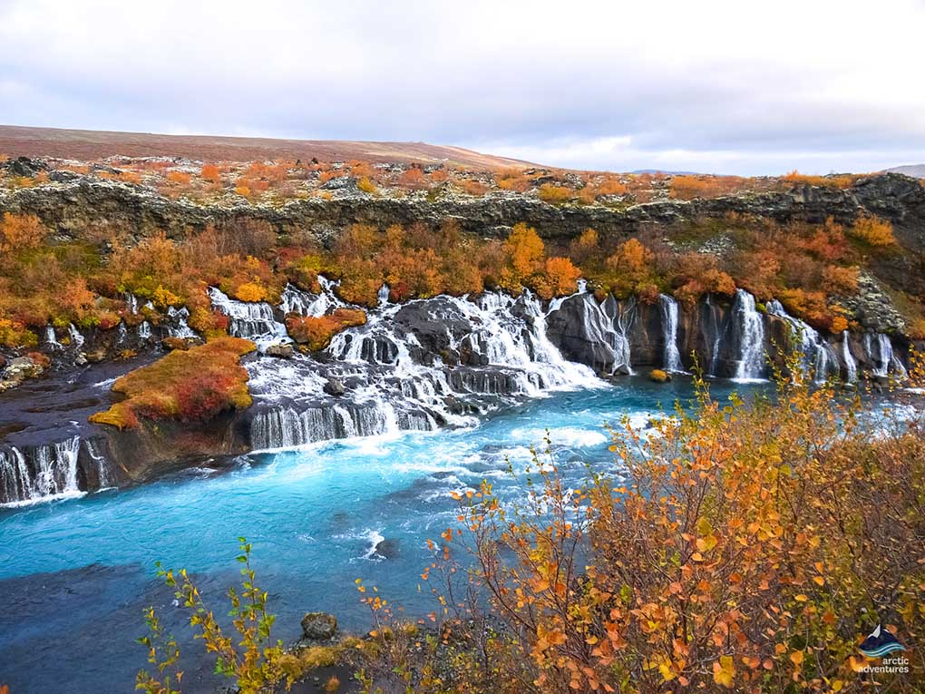 Falltime at Hraunfossar Waterfall