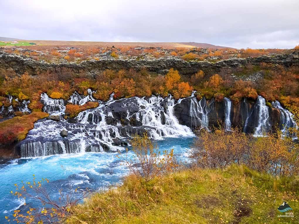 Fall at Hraunfossar Waterfall