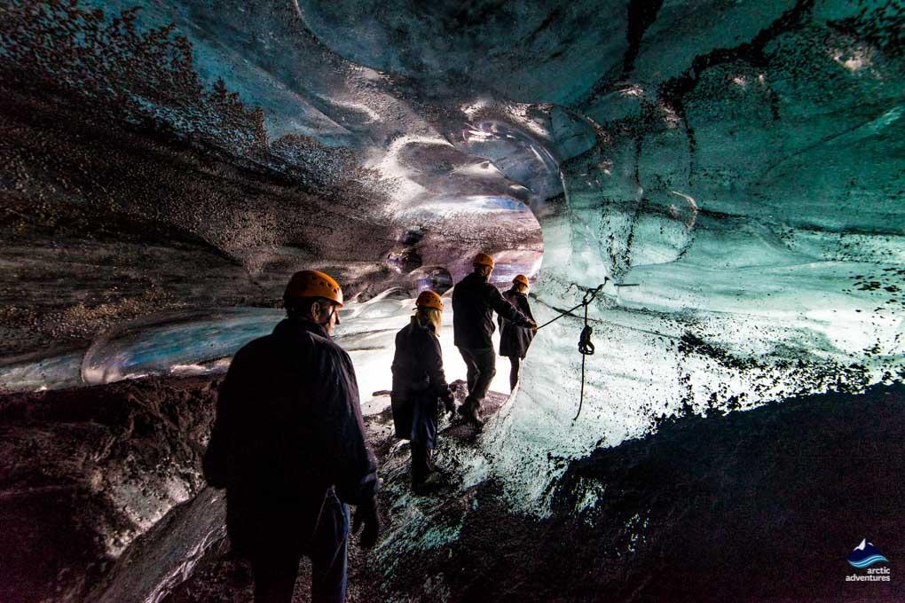 Glacier Ice Cave Exploring Near Ví