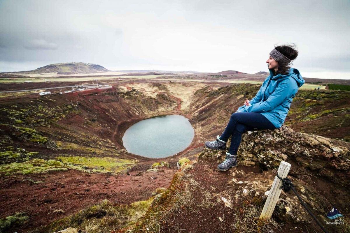 Enjoying Kerid Volcano View