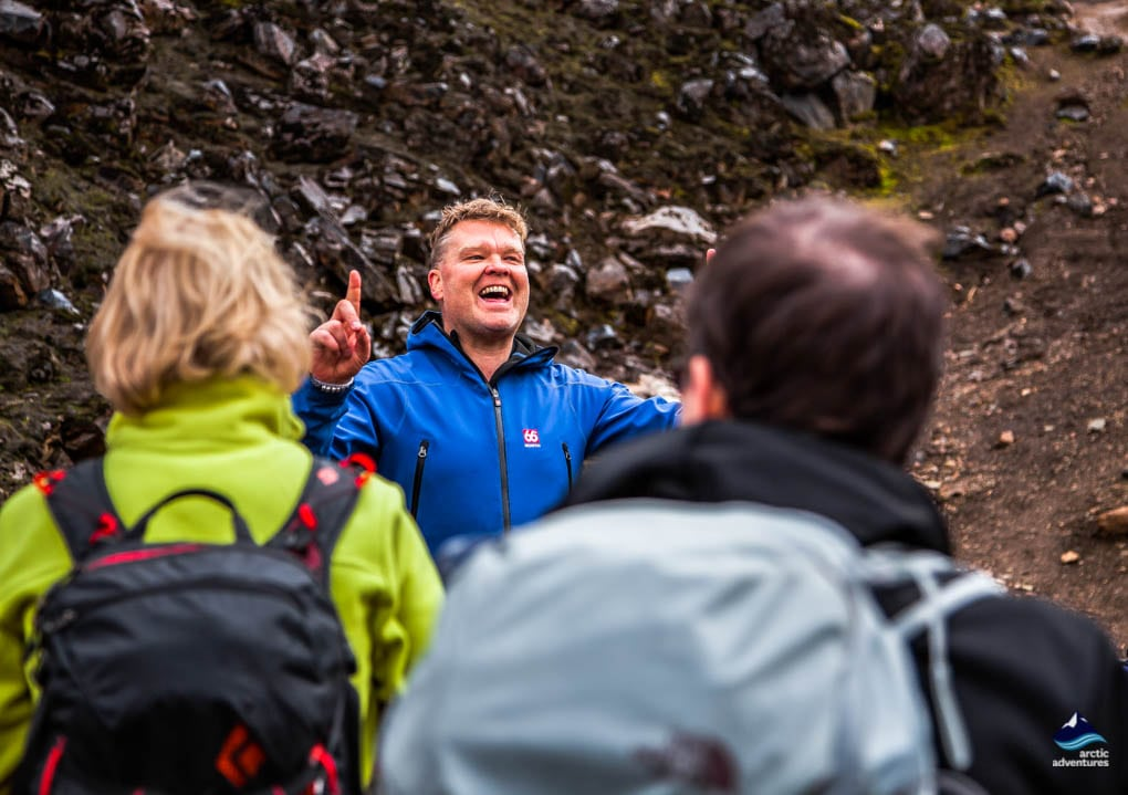 The guide telling tales on the Laugavegur Trail Iceland