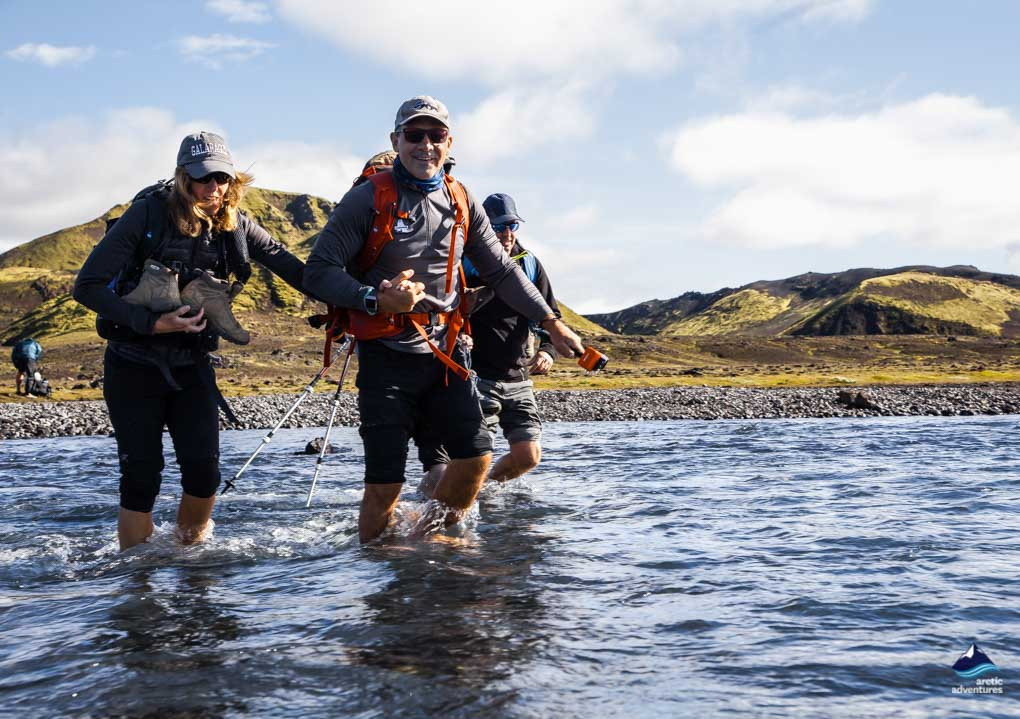 Crossing a river on the Laugavegur Trail