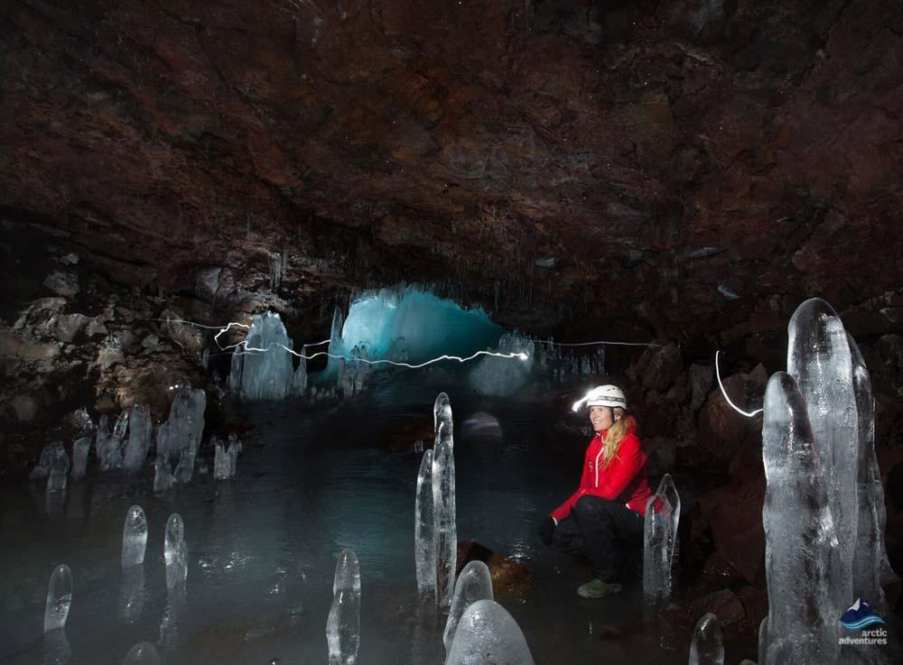 Inside Lava Tube Iceland