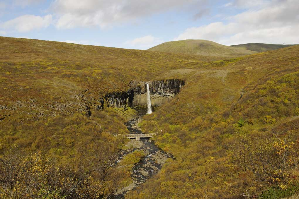 Svartifoss seen from afar